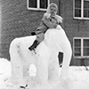 Jean Moran on her father's elephant snow sculpture.